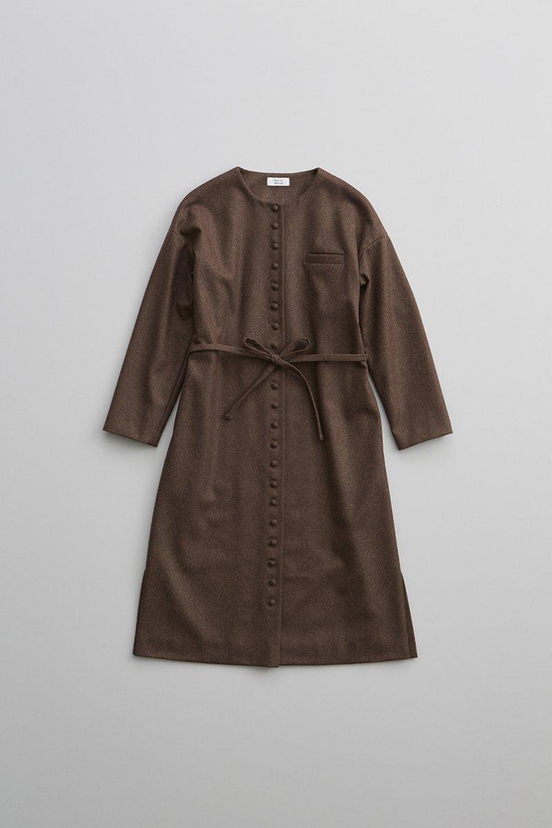 wool kurumi button one-piece coat / brown