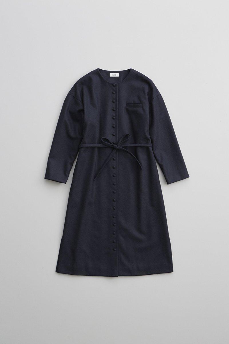 wool kurumi button one-piece coat / navy