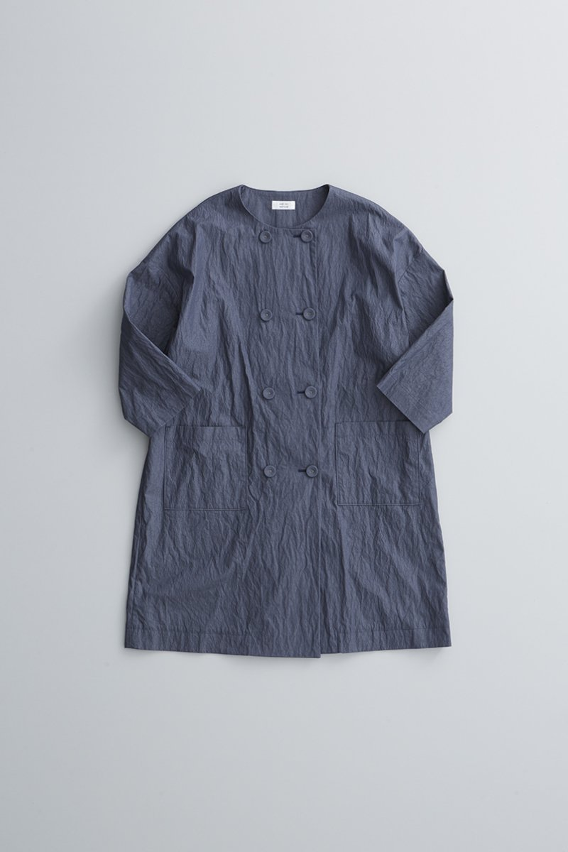 cotton nylon W button spring coat / navy