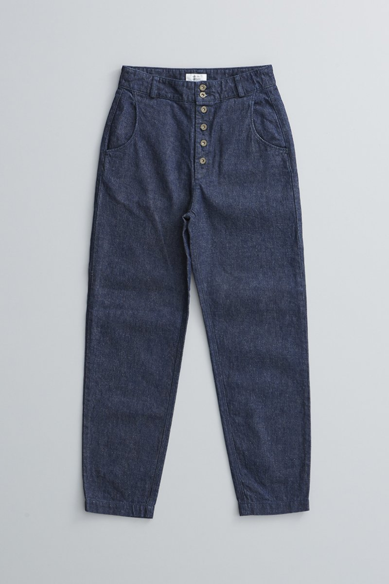 cotton linen denim peck top pants / indigo