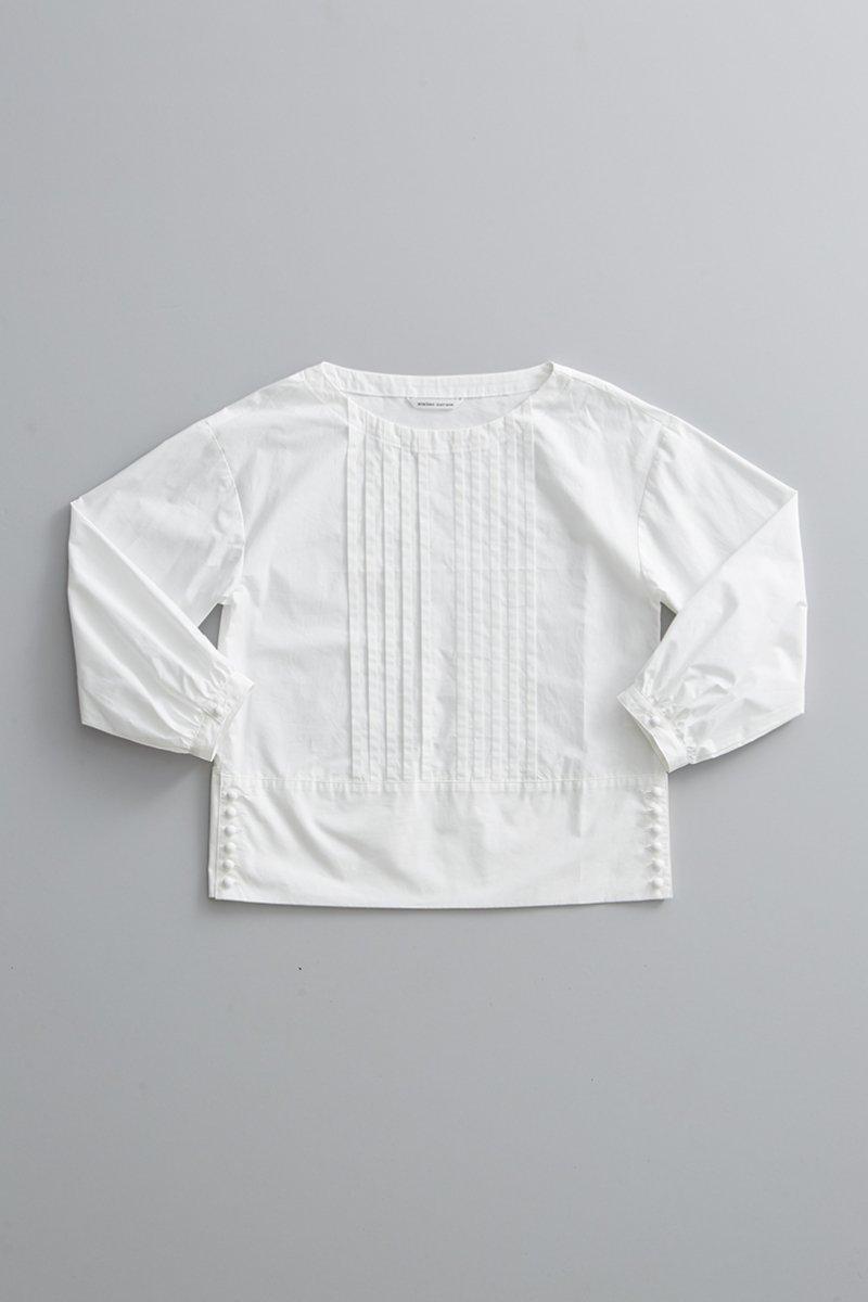 cotton typewriter tuck blouse / white