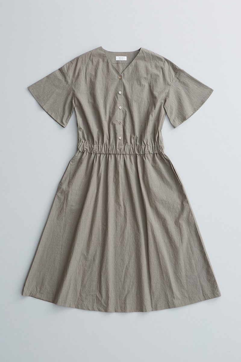 cotton bell-sleeve one-piece / gray
