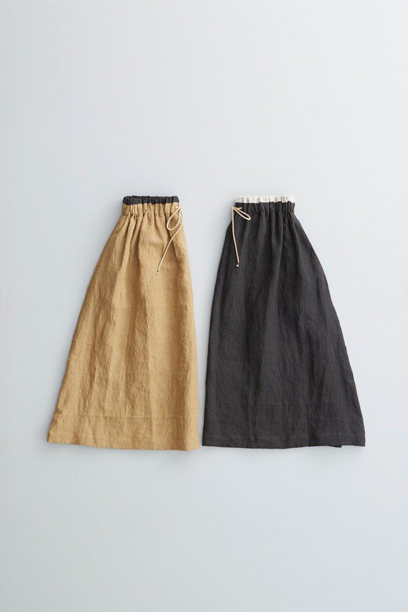 linen gather long skirt