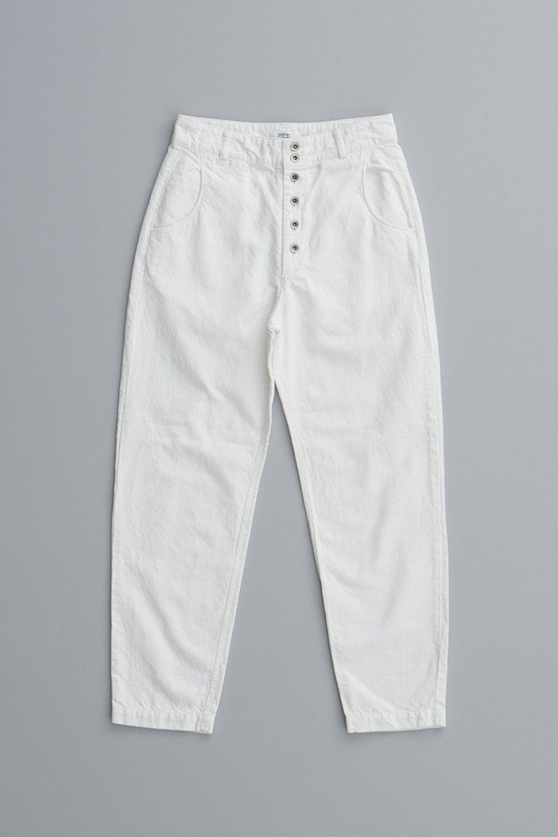 cotton linen denim peck top pants / off white