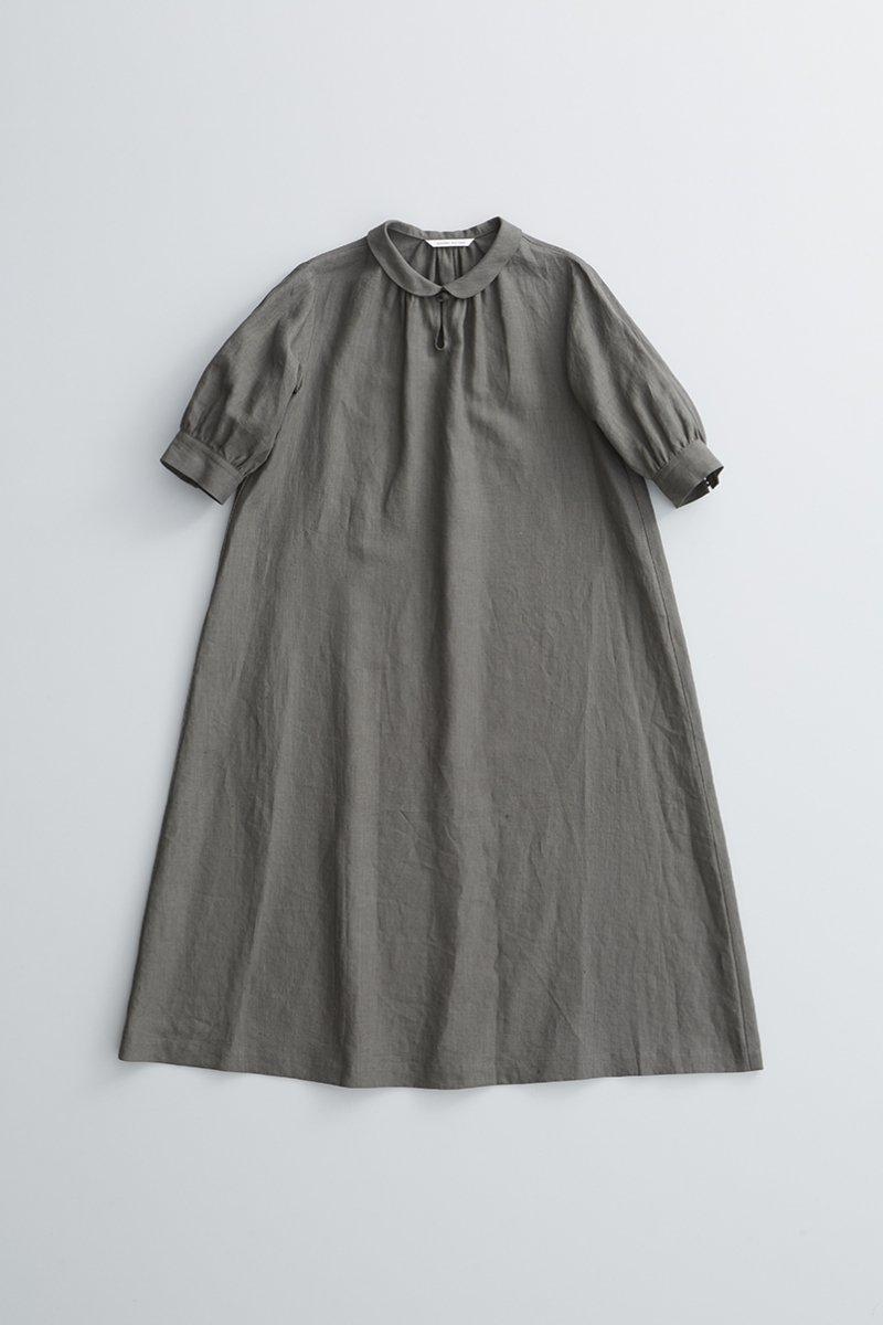 linen farmers one-piece / gray khaki