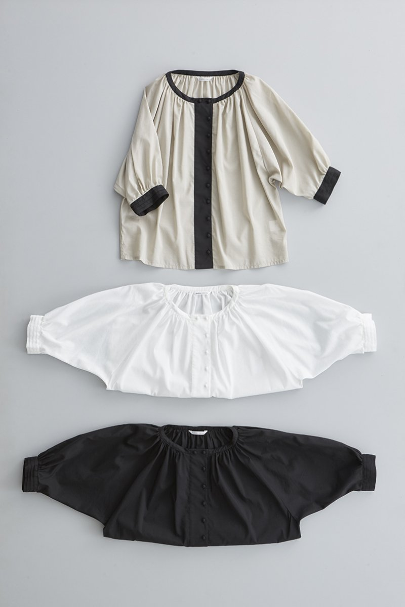 cotton gather smock blouse