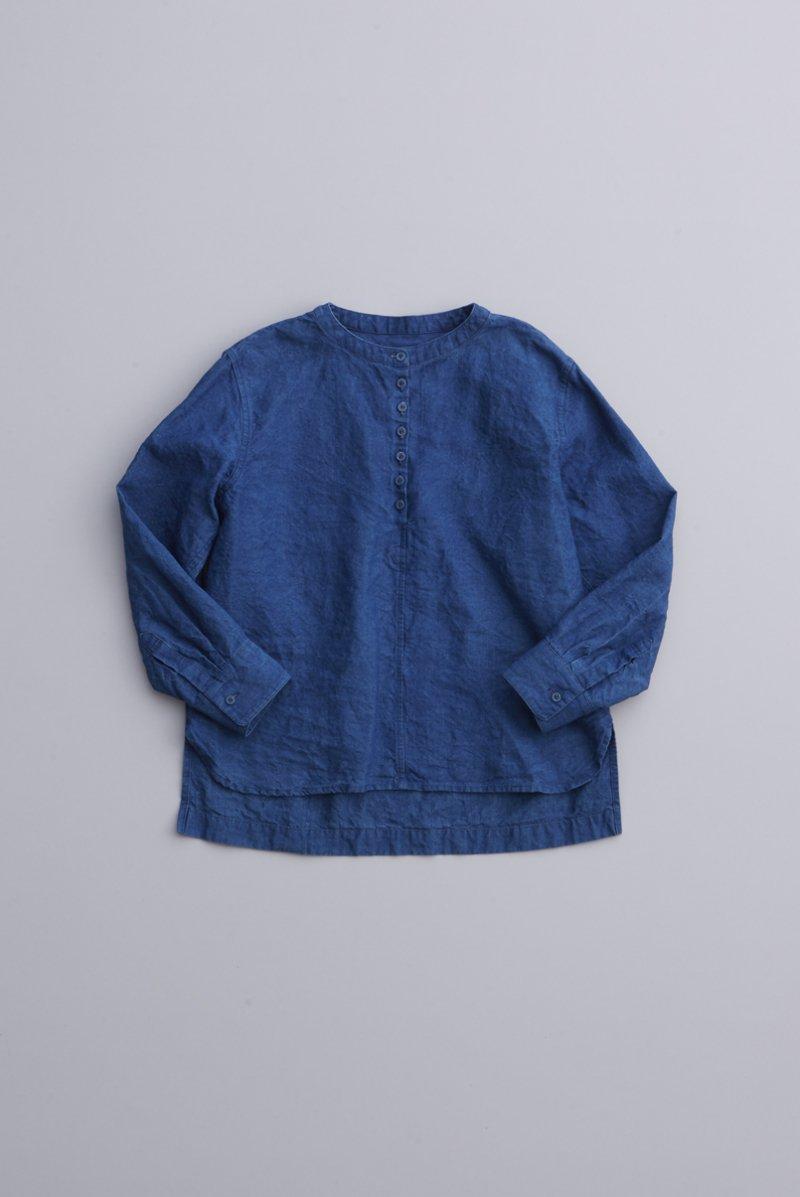 indigo linen smock blouse