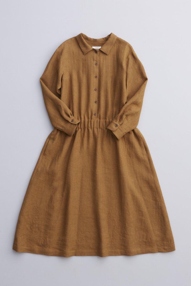 linen wool shirt one-piece / camel