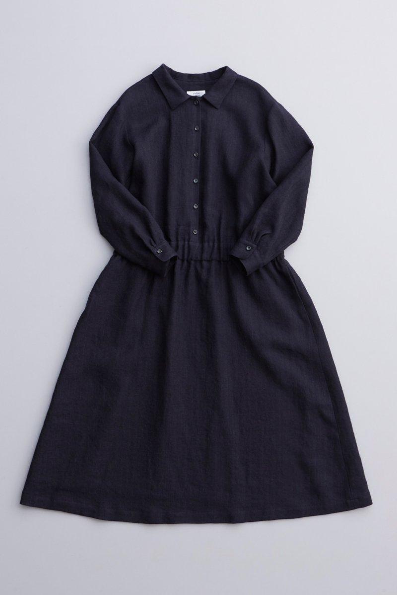 linen wool shirt one-piece / navy