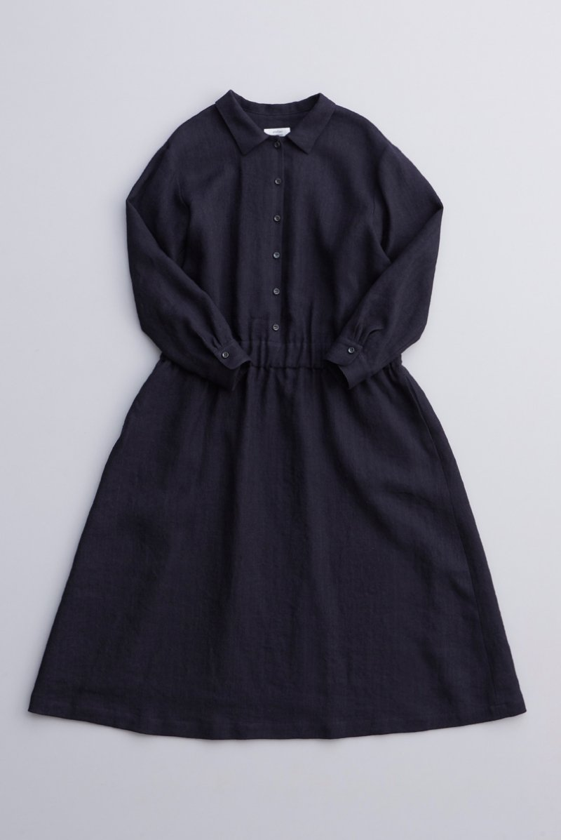 linen wool shirt one-piece / navy