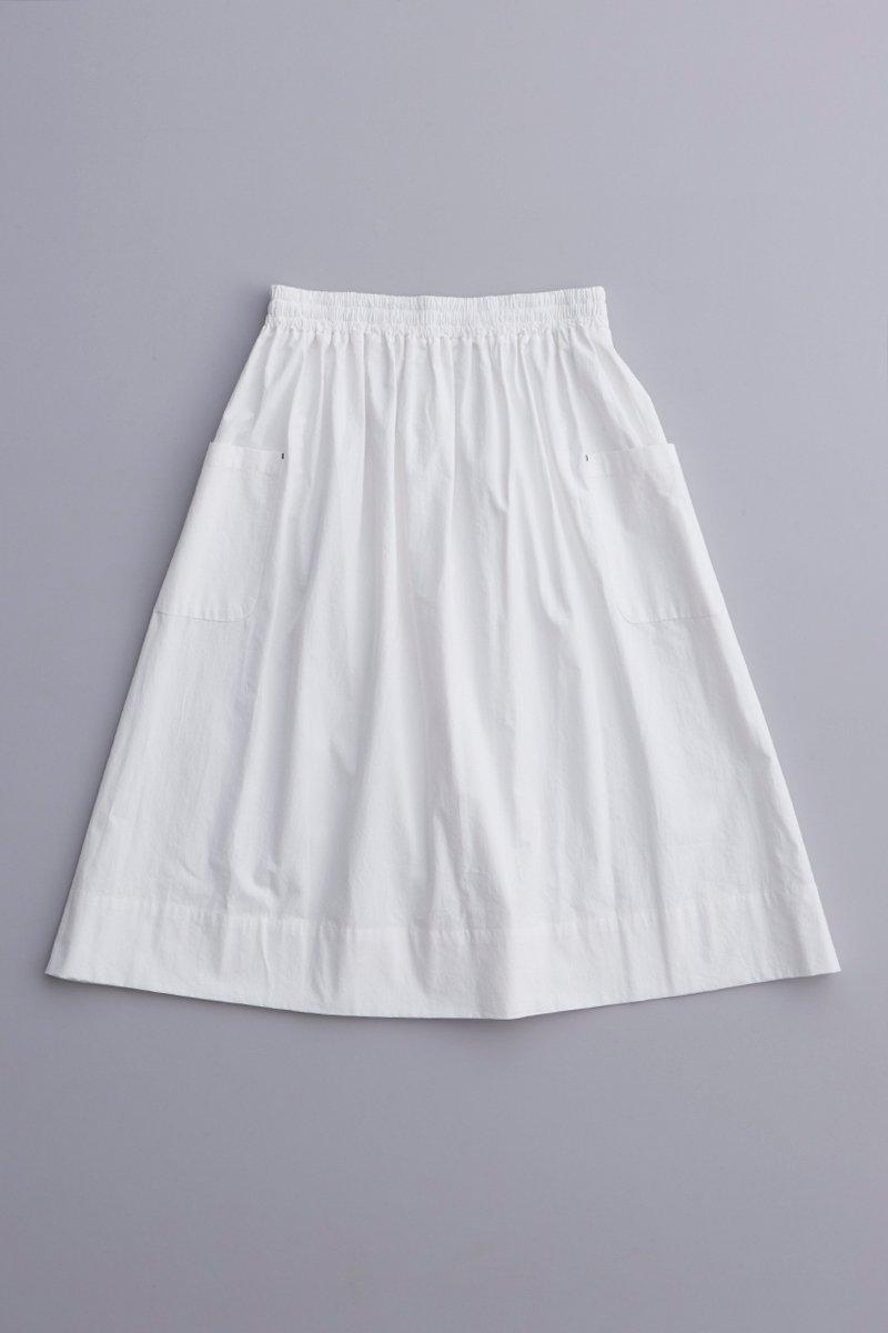 cotton gather skirt / off white