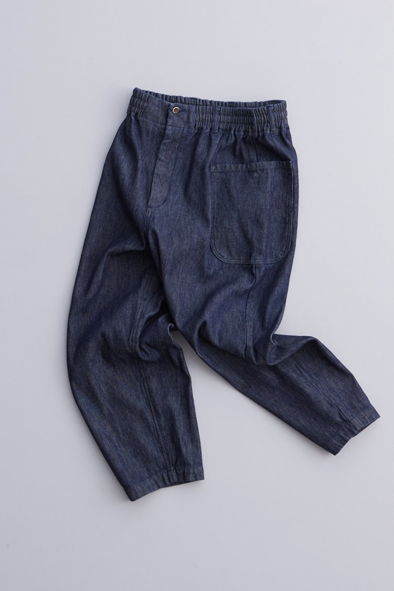 cotton denim balloon pants / indigo