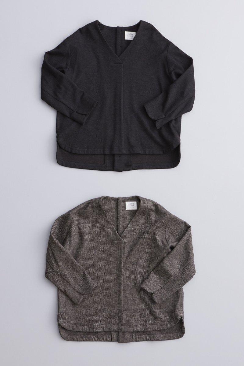 wool cotton jersey V neck smock