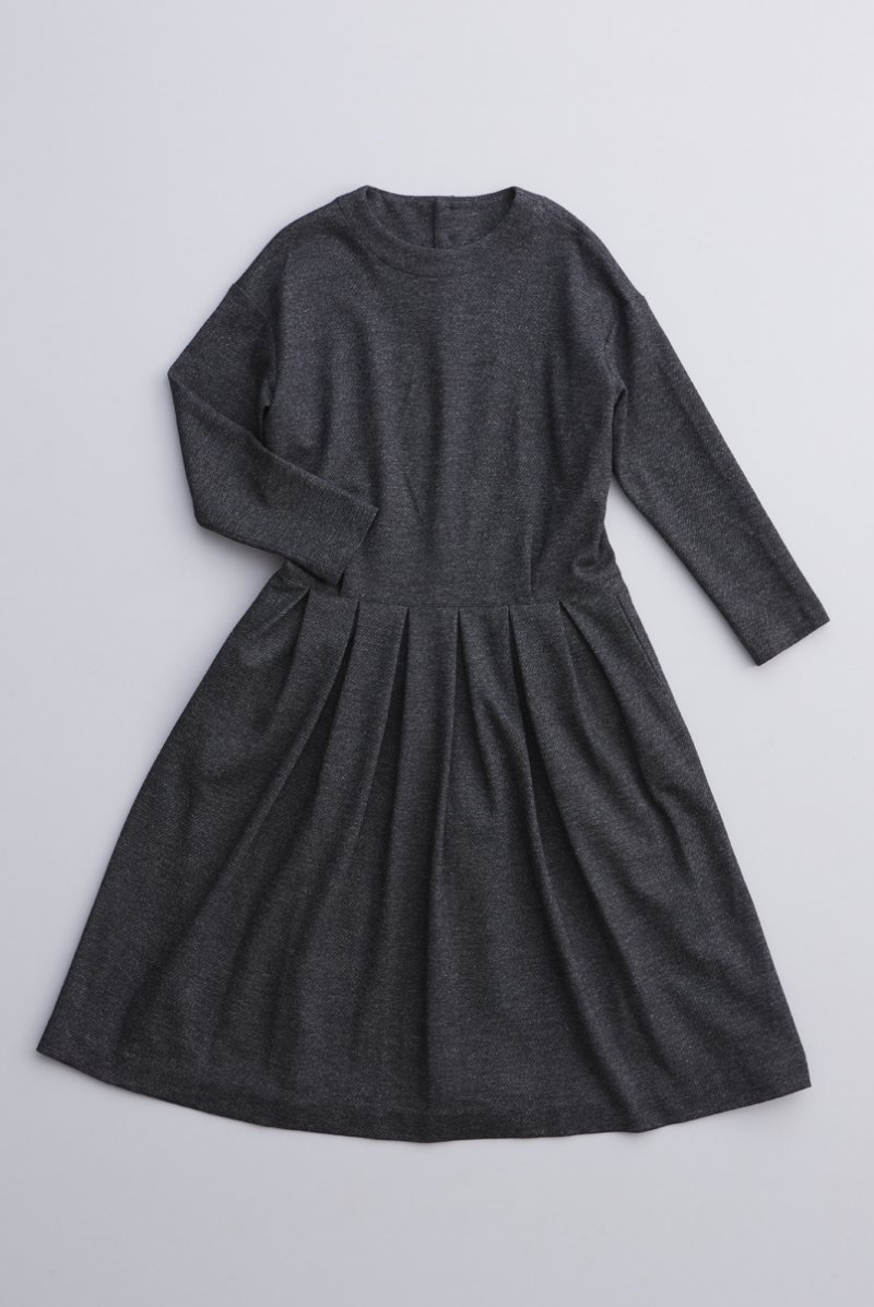 wool cotton jersey one-piece / twill charcoal