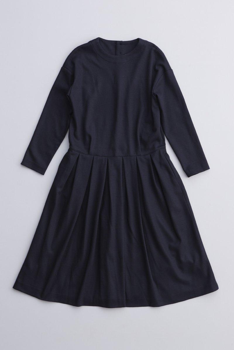 wool cotton jersey one-piece / navy