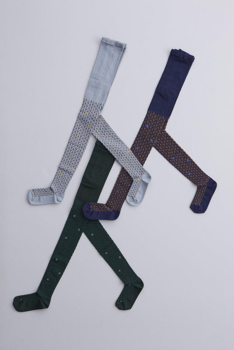 cotton ~dot × herring-bone~ tights