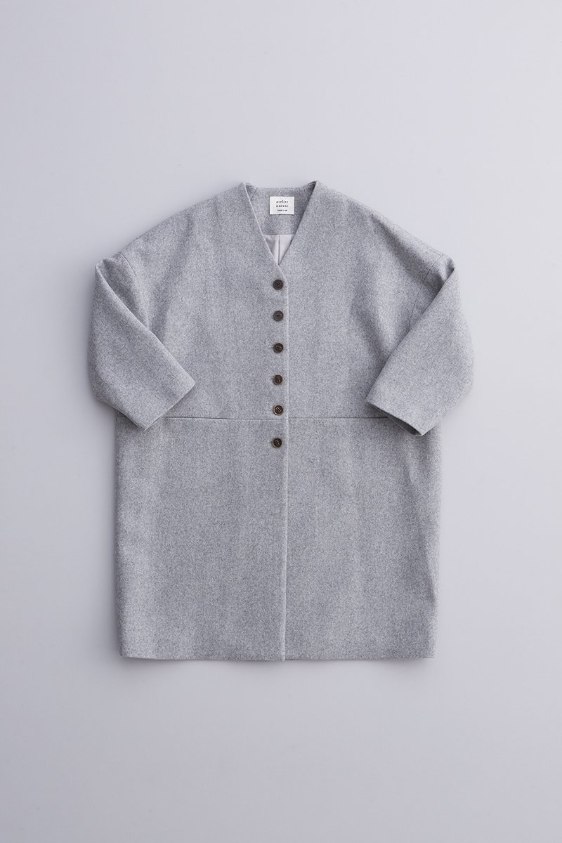 melton wool cocoon coat / light gray