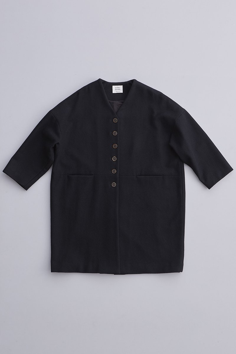 melton wool cocoon coat / black