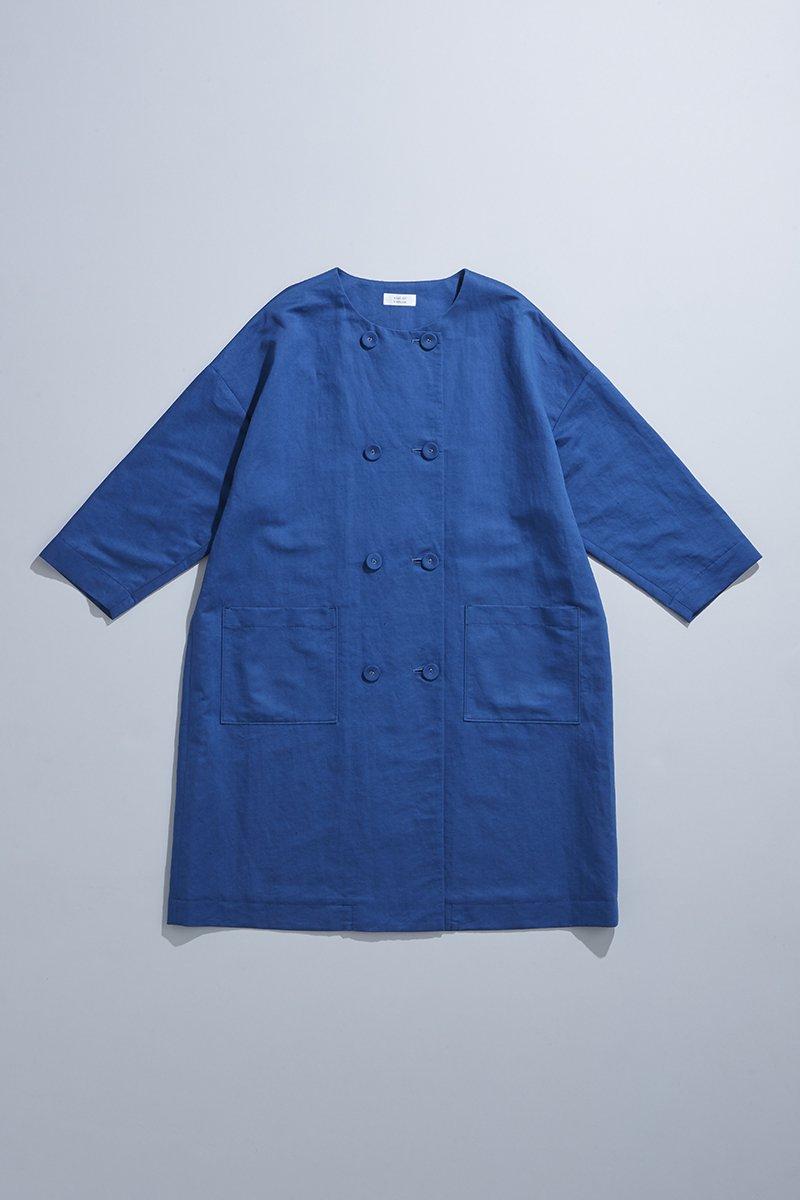 linen cotton W button spring coat / blue