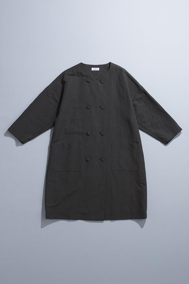 linen cotton W button spring coat / charcoal