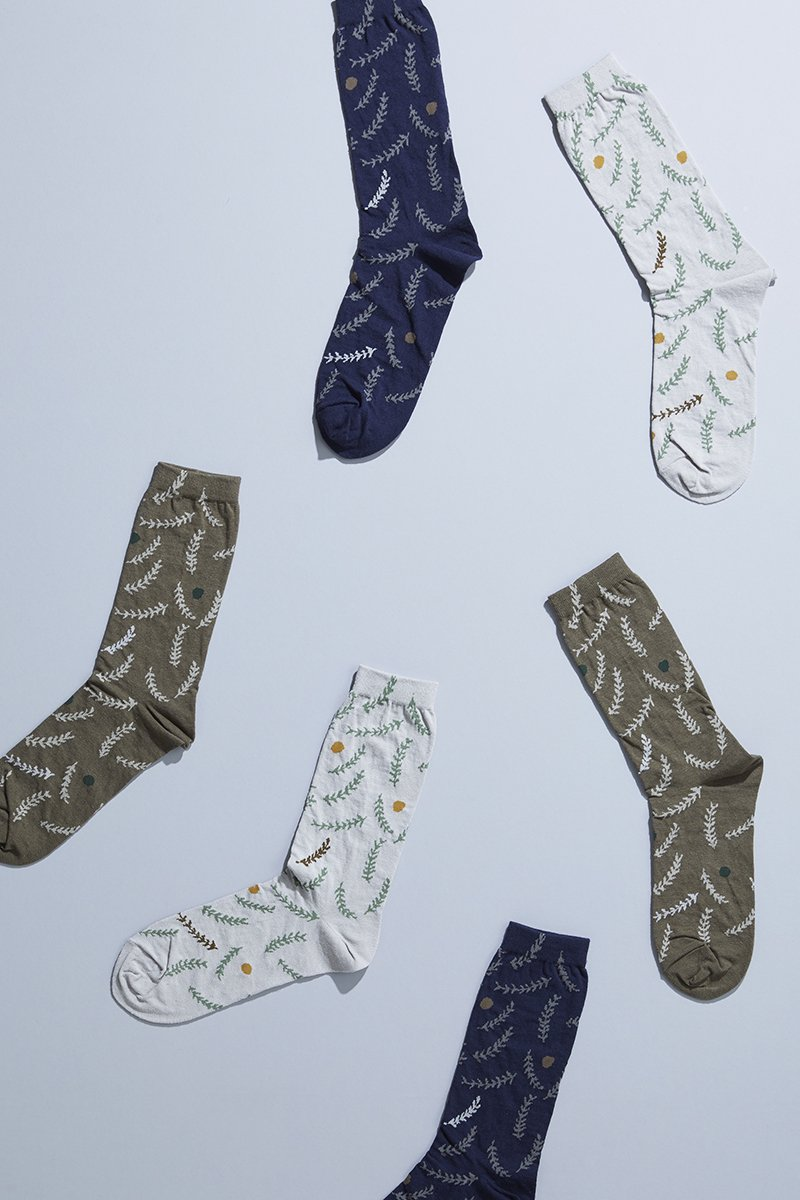 cotton linen ~grass~ middle socks
