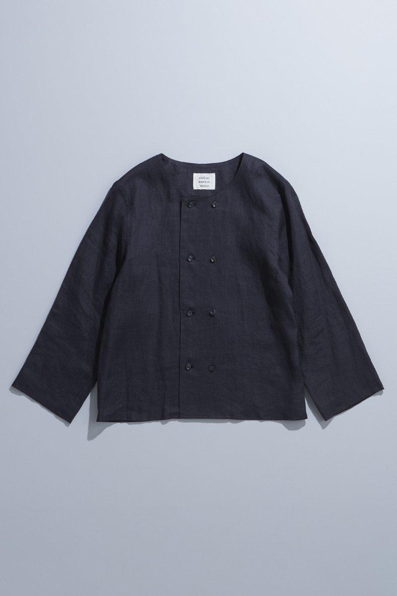 linen W button blouse  / sumikuro