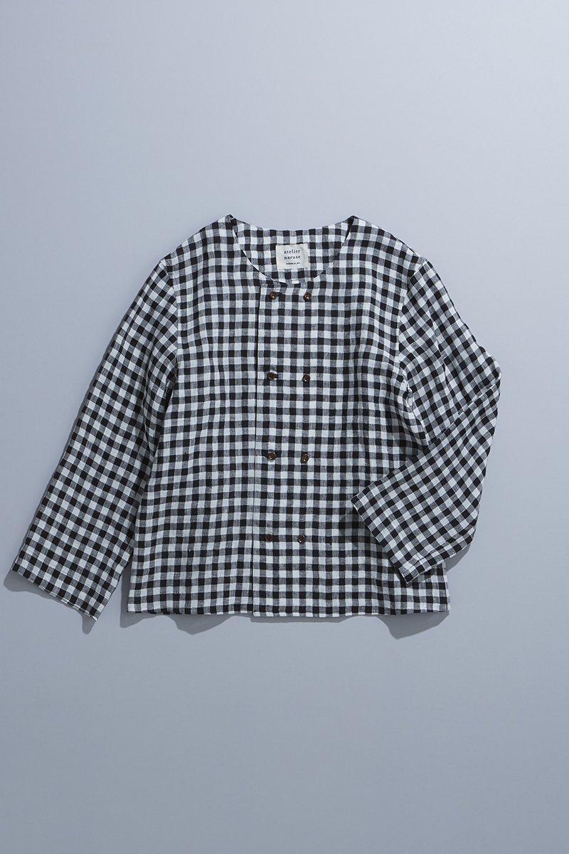 linen W button blouse  / gingham