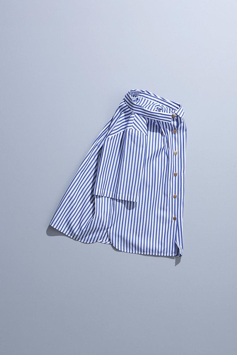cotton ~THOMAS MASON~ off collar blouse  / stripe