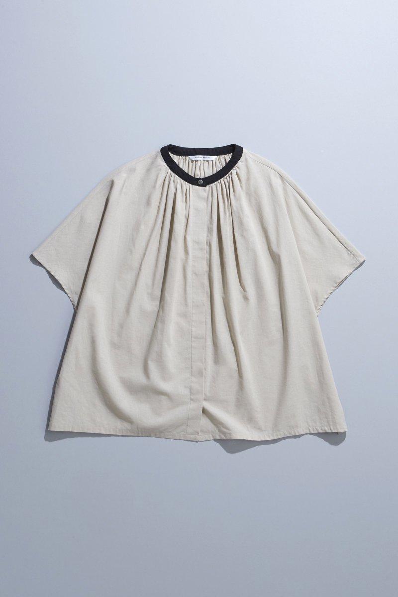 cotton linen smock blouse / beige