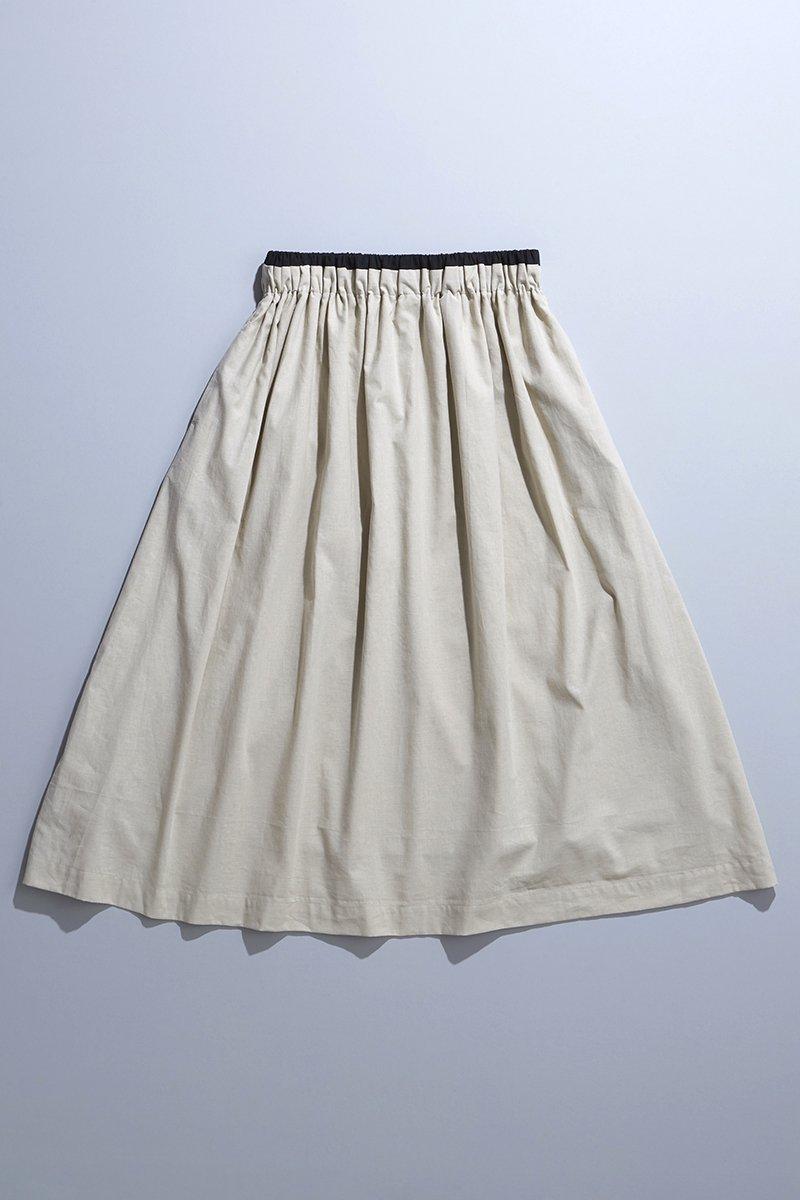 cotton linen bicolor skirt / beige