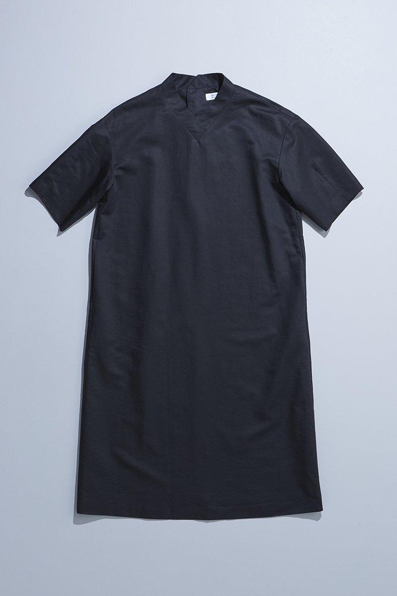 cotton linen silk formal one-piece / black