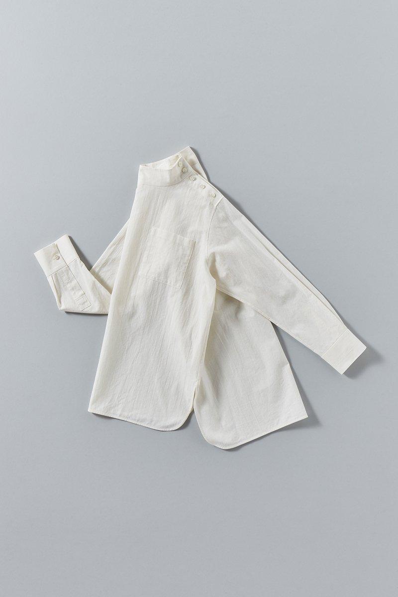coton linen mock-neck smock blouse