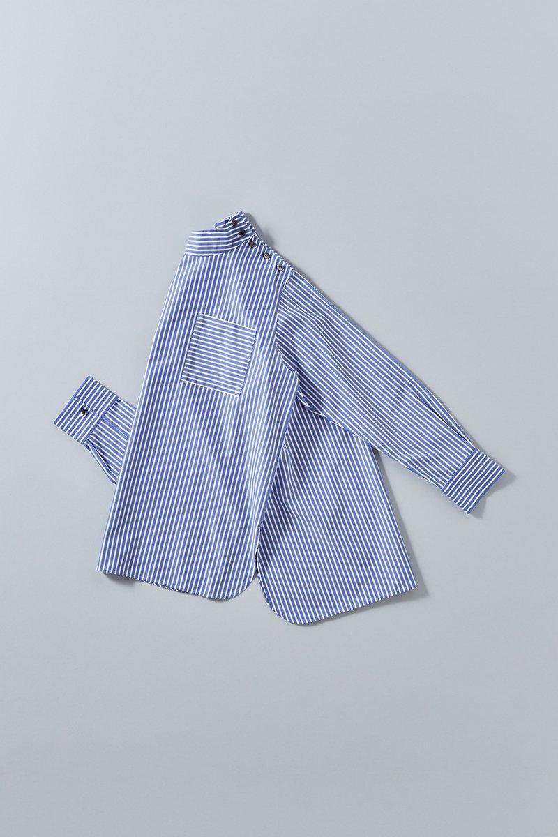 supima cotton mock-neck smock blouse