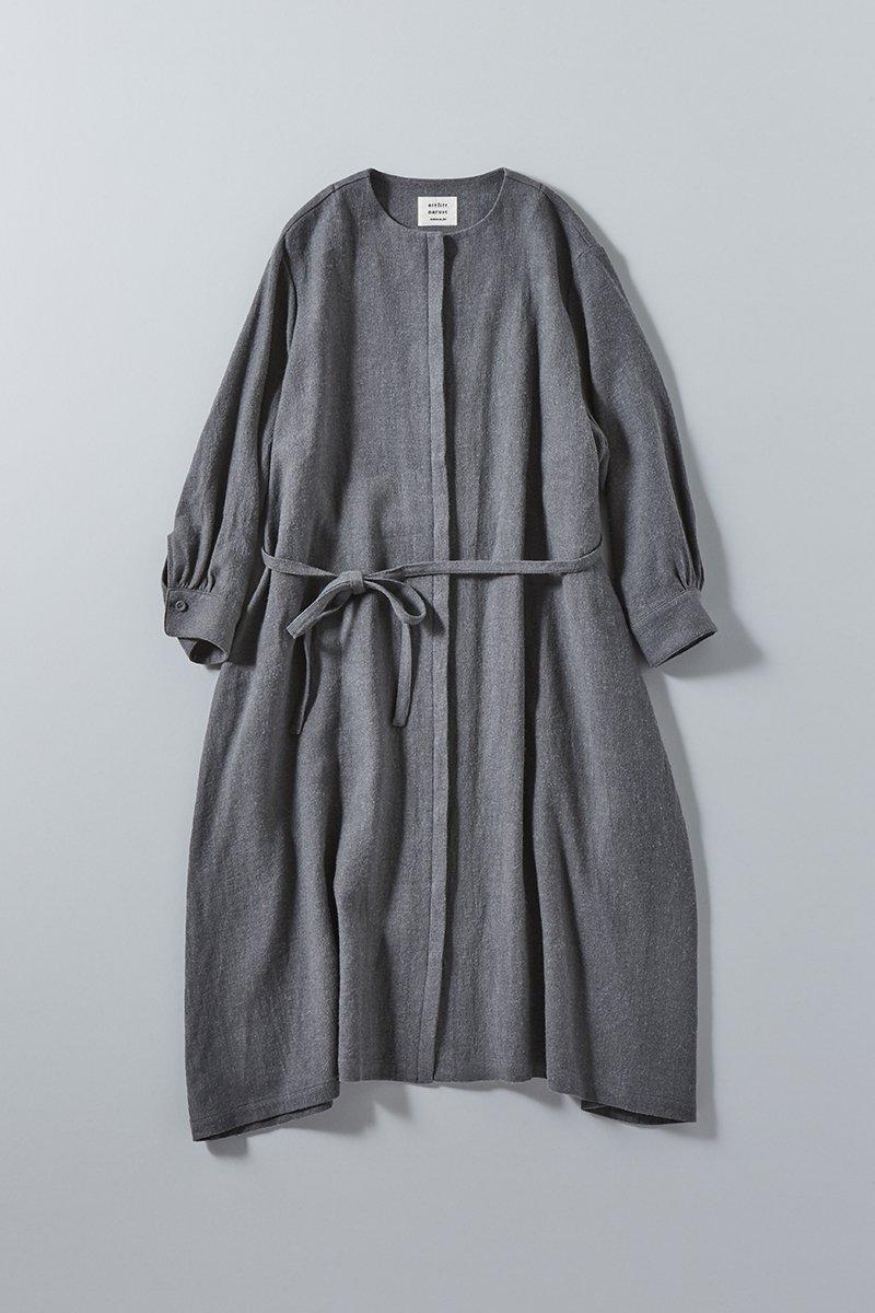 wool flax viyella coat one-piece / sax gray