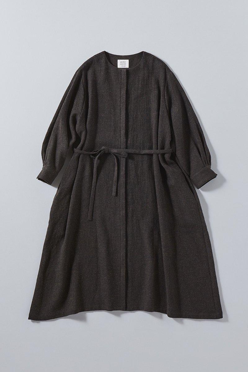 wool flax viyella coat one-piece / brown