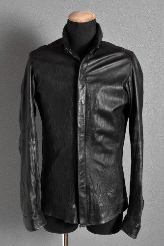 DEVOA 希少 初期 GUIDIカーフ ウォッシャブル レザーシャツ 46 黒 デヴォア