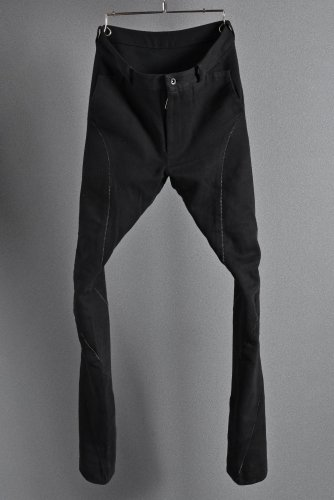 希少 美品 N/07 エヌゼロナナ N/07 cotton/twill overlock spyral 3dimention Pants 44 BLACK