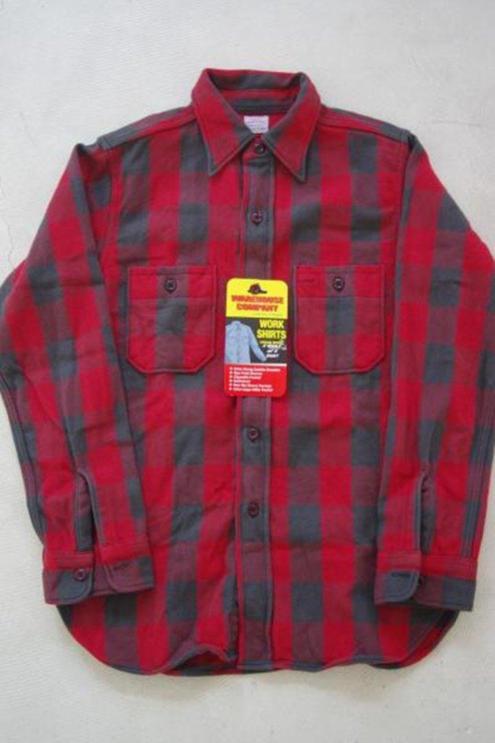 warehouse 3104 フランネルシャツ A柄 o/w[Red]