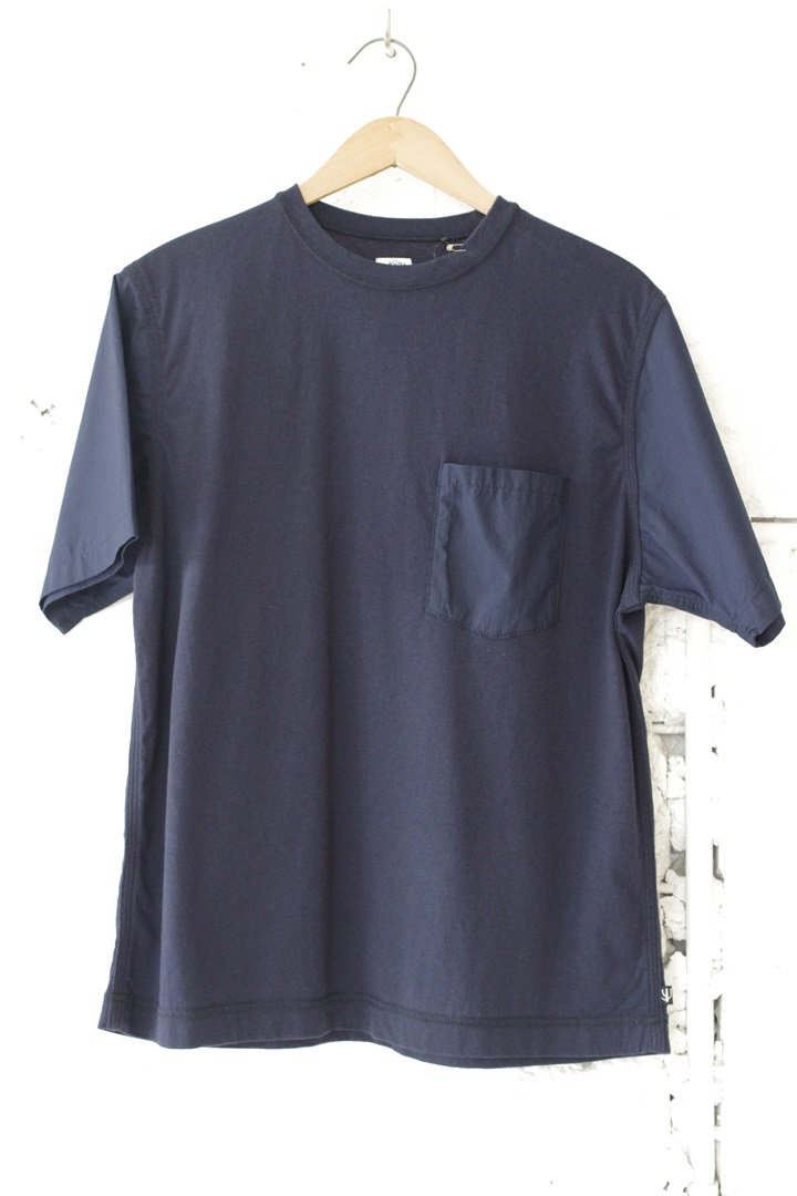 CORONA CC009 TRIPLE STITCH POPLIN SLEEVE POCKET TEE SHIRT[NAVY]