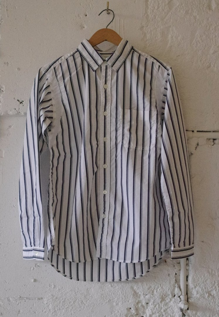 NANAMICA SUGS939 stripe wind shirt [NAVYxWHITE]