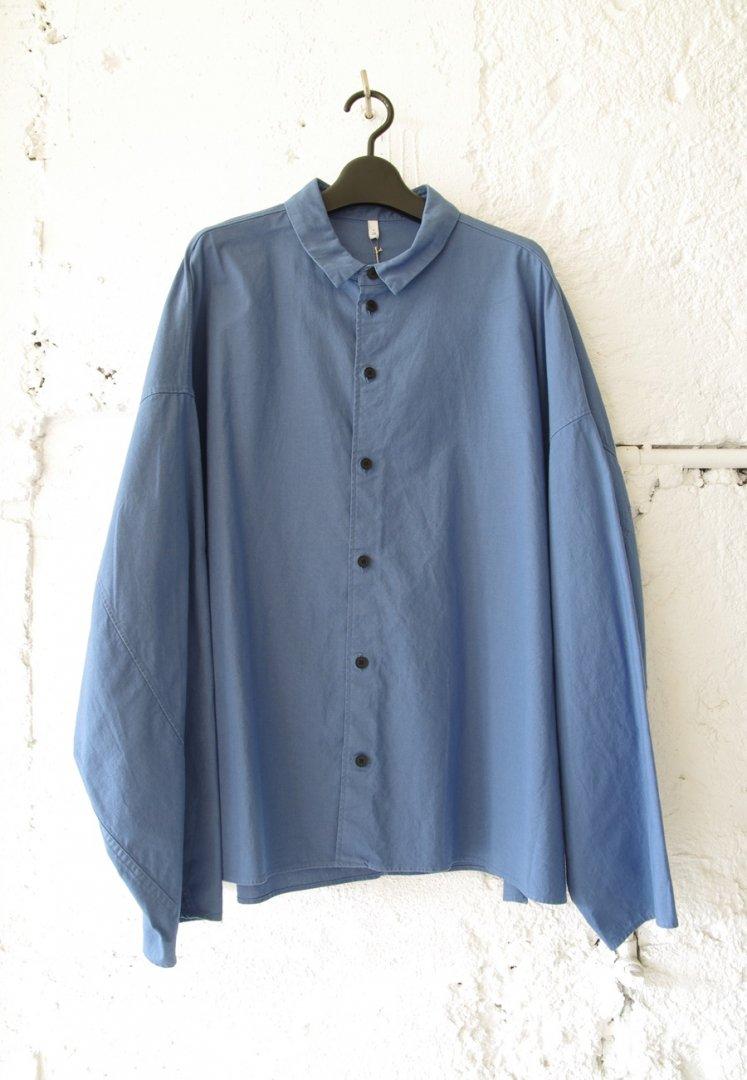 FIRMUM A0_FR014SF ラフコットンシ-チング オーバーサイズ シャツ[AJISAI BLUE DYED]