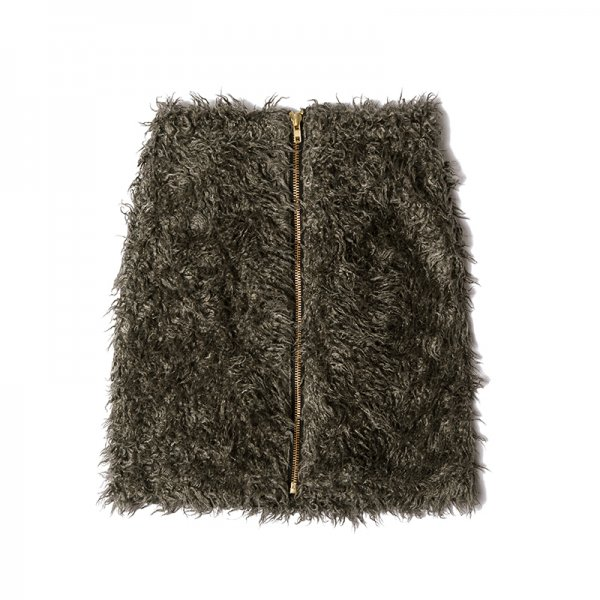GYF TOKYO - THE TWISTED FUR ZIP-UP MINI SKIRT