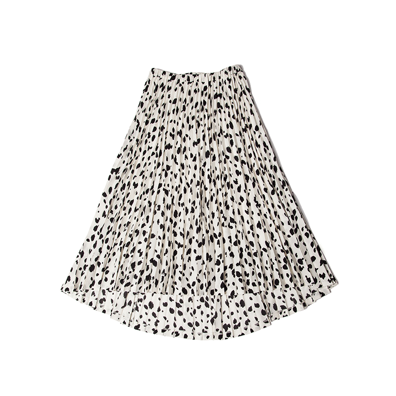 THE DALMATIAN PRINT PLEATED SKIRT