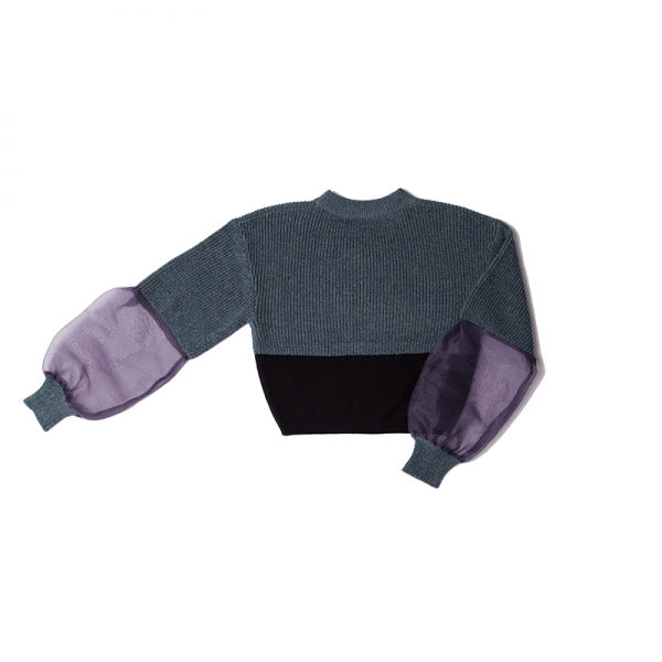 GYF TOKYO - THE SEE-THROUGH SLEEVE BICOLOR KNIT(BLUE PURPLE)
