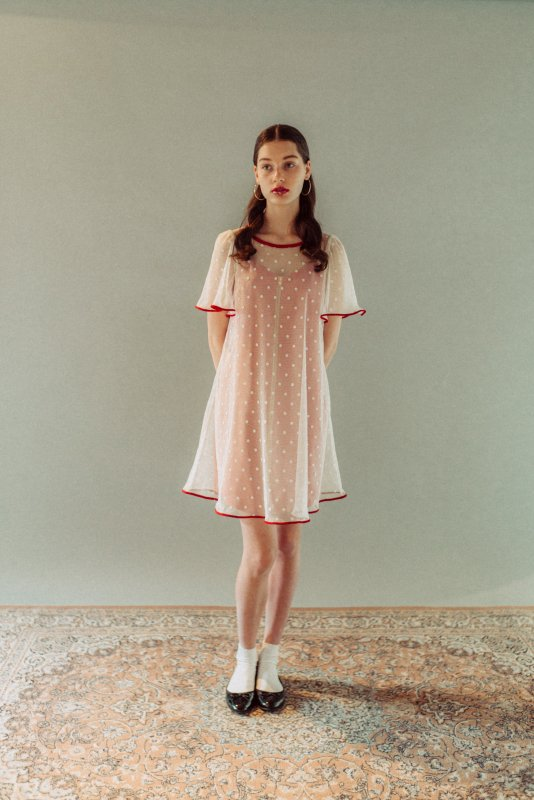 THE DOTTED CHIFFON DRESS (PINK)