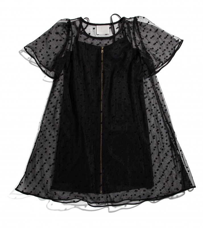 THE DOTTED CHIFFON DRESS (BLACK)