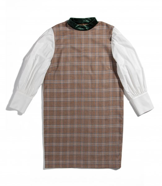 GYF TOKYO - THE SHIRT SLEEVE CHECK DRESS