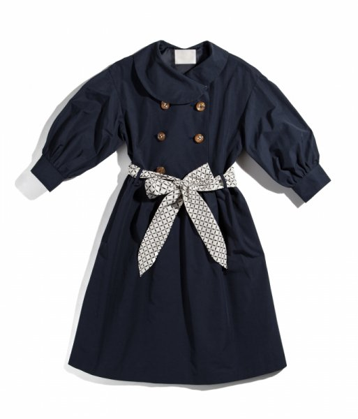 GYF TOKYO - THE TRENCH DRESS WITH SCARF BELT (NAVY)