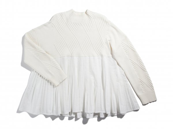 GYF TOKYO - THE PLEATS DOCKING KNIT (WHITE)
