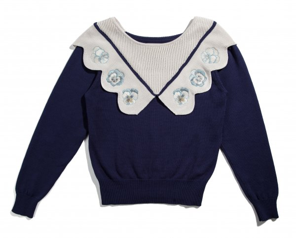 GYF TOKYO - THE ORIGINAL PANSY EMBROIDERY SCALLOP KNIT
